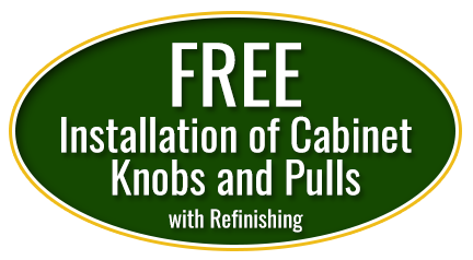 Free Installation of Cabinet Knobs and Pulls with Refinishing